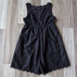 Betsey Johnson Faux Wrap Front Lace Romper Shorts
